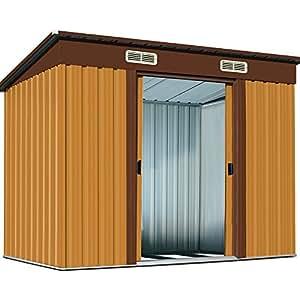 Cenador de jardín hogar Casa de metal galvanizado 3,35m³ Con Base De Puerta Corrediza y Cobertizo Cobertizo de dispositivos Selección de Colores, marrón