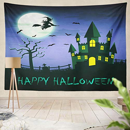 RCOSTRYW Tapestry Wall Art Witch Flying Magic Broomstick Over Spooky Haunted Castle Full Moon Word Happy Halloween Halloween Night Wall Hanging Adults Kids' Room Decor Wall Blanket Curtains ()
