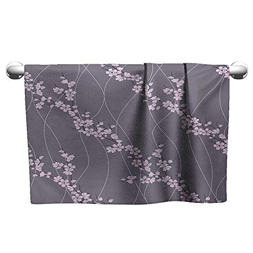 Floral,Small Bath Towels Asian Spring Japanese Sakura Branches Full Blossom Modern Oriental Composition Quick-Dry Towels Taupe Pale Pink W 24