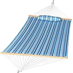 Garden and Outdoor Prime Garden Quilted Fabric Hammock with Pillow, Double Hammock with Hardwood Spreader Bars, 2 People, Blue Navy Stripe hammocks