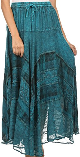 Sakkas 15320 - Hailes Long Tall Wide Silver Embroidered Batik Adjustable Waist Skirt - Turquoise - OS