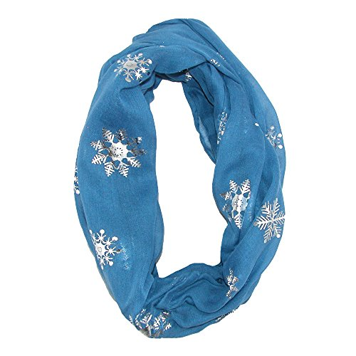 David & Young Women's Snowflake Holiday Infinity Loop Scarf, Blue