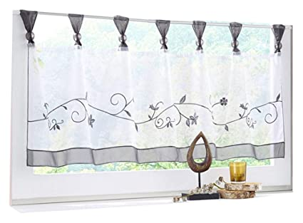 HomeyHo Short Curtain Valances for Windows Curtain Sheer Kitchen Tier  Curtain Floral Sheer Curtain Tab Top Sheer Cafe Curtains Lace Sheer Curtain  for ...