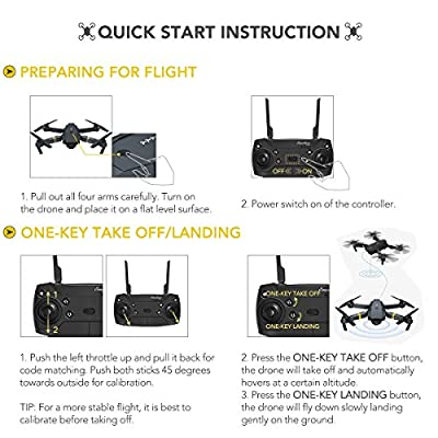 Quadcopter Drone with Camera Live Video, EACHINE E58 WiFi FPV Quadcopter with 120° Wide-Angle 720P HD Camera Foldable Drone RTF - Altitude Hold, One Key Take Off/Landing, 3D Flip, APP Control: Toys & Games