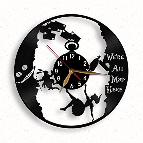 "Alice in Wonderland clock / We're All Mad Here Wall Clock / Alice down the rabbit hole clock 12"" (30cm) / Made of vintage vinyl record"