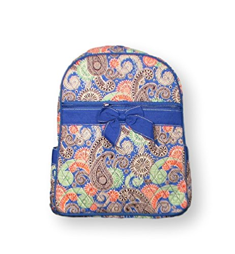 Lar Lar Oliff Children's Backpack Quilted Paisley With Bow (Blue)