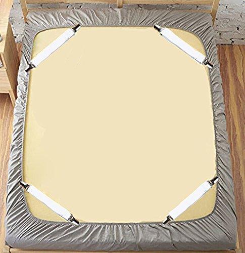 Deux lots de tendeurs de draps /élastique r/églable avec pinces en m/étal pour 2 draps plats ou fines couettes Wei/ß