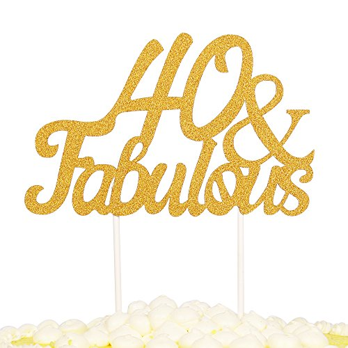 PALASASA Gold Glitter 40 & Fabulous Cake Topper, Wedding, Birthday, Anniversary, Party Cupcake Topper Decoration