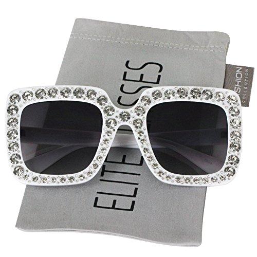 Elite Oversized Square Frame Crystal Bling Rhinestone Brand Designer Sunglasses For Women - With Rhinestones Sunglasses