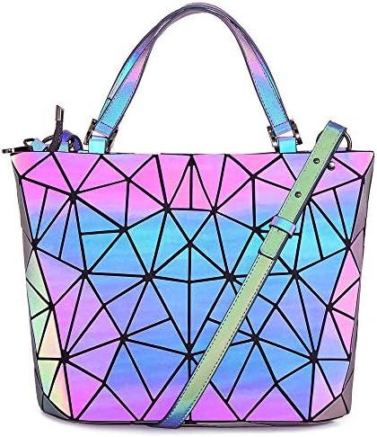 Hot One Farbänderungen Geometrische Leuchtende Geldbörsen und Handtaschen Holographic Purse Reflective Purse Fashion Rucksäcke (5# Leuchtend Groß)