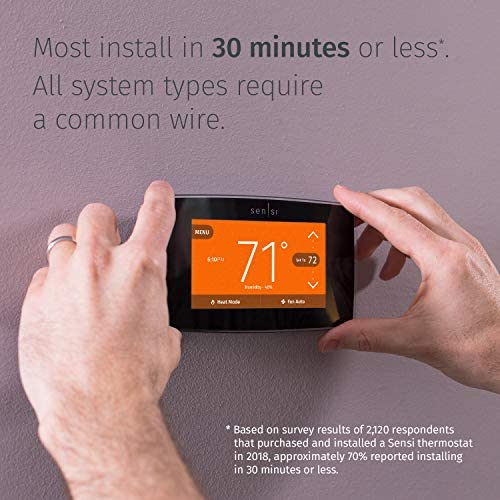 Emerson Sensi Touch Wi-Fi Smart Thermostat with Touchscreen Color Display, Works with Alexa, Energy Star Certified, C-wire Required, ST75 51EWHW2VH2L