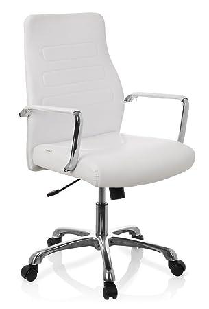 Hjh OFFICE 720007 Chaise De Bureau A Roulettes TEWA Blanc En Simili
