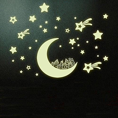 BIBITIME DIY Fluorescent Luminous Glow in the Dark Wall Sticker Decor Decals Mural City on Moon and Twinkling Stars Stickers Vinyl Art Decal for Kids Room