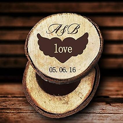 Amor Ala caja de anillos de boda personalizable iniciales y fecha aniversario madera anillo caja aniversario