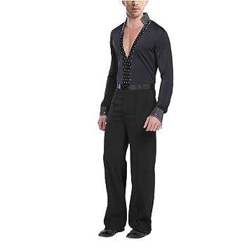 Mens Professional Dancewear Ballroom Latin Dance Shirt Samba Tango Stage Costume