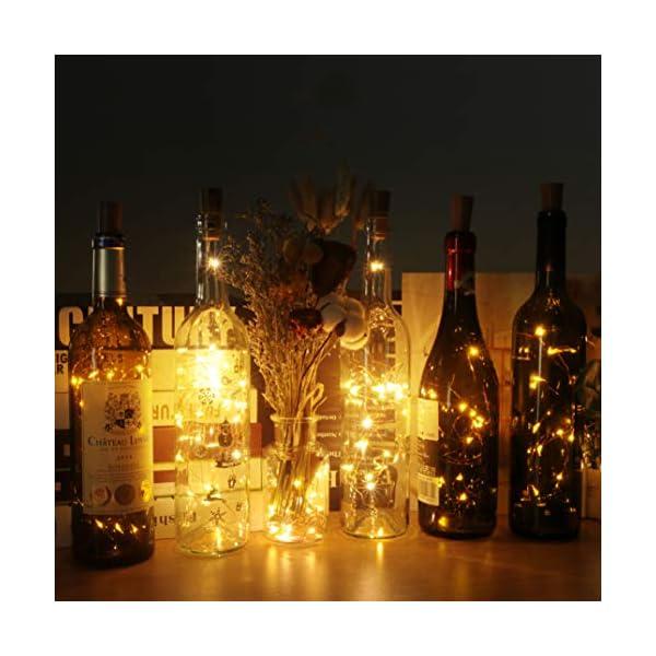 (12 pezzi) Luci per Bottiglia, kolpop Tappi LED a Batteria per Bottiglie, Filo di Rame Led Decorative Stringa Luci da Interni e Esterni per Festa, Giardino, Natalizie, Matrimonio (Bianco Caldo) 2 spesavip