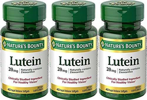 Nature's Bounty Lutein 20mg, 33% Bonus Size Bottles, 120 Softgels (3 X 40 Count Bottles)