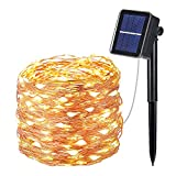 OxyLED Solar Fairy Lights Outdoor, 100 LED Fairy Lights 8 Modes Outdoor Lighting Copper Wire Waterproof IP65 and Outdoor Timer, Indoor Lighting, Garden, Wedding, Party, Warm White