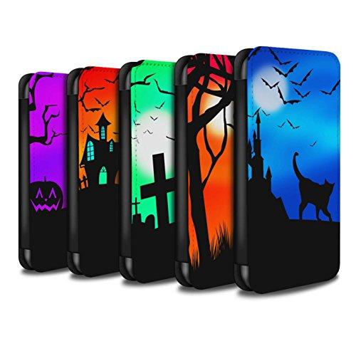 Stuff4 Coque/Etui/Housse Cuir PU Case/Cover pour Apple iPhone 8 / Pack 5pcs Design / Scène Halloween Collection