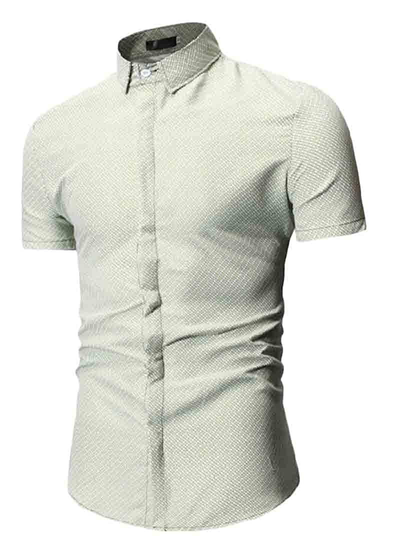 Sweatwater Mens Short Sleeve Slim Printed Breathable Lapel Neck Button Down Shirts