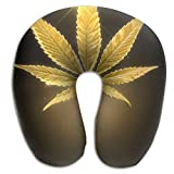 Cannabis Leaf Lightweight Neck Pillow Spa Memory Foam U-SHAPE Help Neck Pain Man