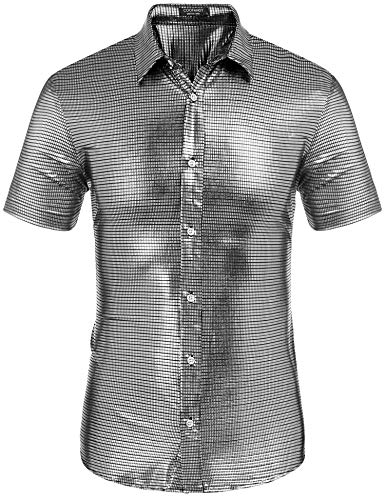 COOFANDY Men's Metallic Shirt Slim Fit Shiny Sequin Shirt for Disco Bar Party