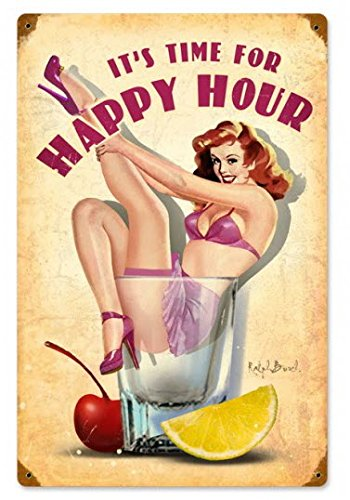 Happy Hour Pinup Girl Shot Glass Metal - Girl Glasses Nude