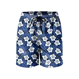 Hibiscus Flowers Tropical Leaves Mens Quick Dry Beach Shorts Drawstring