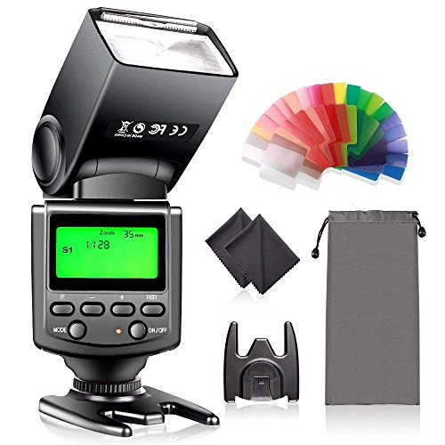 Speedlite Flash with LCD Display, FOSITAN Camera Speedlight Flash for Canon Nikon Panasonic Olympus Pentax with Standard Hot Shoe and Sony Mi Hot Shoe Like Sony A7 A7S A7SII A7R A7RII A7II A6000