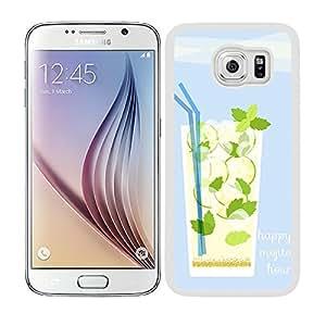 Funda carcasa para Samsung Galaxy S6 diseño coctel happy mojito borde blanco