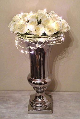 Trumpet 25 cm Keramik Vase Silber Trompetenvase Blumenvase Deko Shabby Chic 9175-25