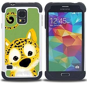 """Hypernova Híbrido Heavy Duty armadura cubierta silicona prueba golpes Funda caso resistente Para SAMSUNG Galaxy S5 V / i9600 / SM-G900 [Lindo del guepardo del leopardo Animal""""]"""