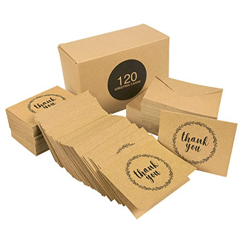 Thank You Cards - 120-Pack All Occasion Kraft Paper Thank You Notes Design, Includes Birthday, Wedding, Bulk Thank You Cards Assortment - Box Set Thank You Cards and Envelopes, 3.5 x 5 Inches - Recycled Business Cards