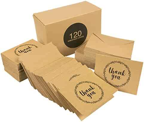 Thank You Cards - 120-Pack All Occasion Kraft Paper Thank You Notes Design, Includes Birthday, Wedding, Bulk Thank You Cards Assortment - Box Set Thank You Cards and Envelopes, 3.5 x 5 inches