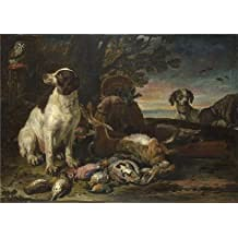 'David de Coninck - Dead Birds and Game with Gun Dogs and a Little Owl,about 1672-94' oil painting, 18x25 inch / 46x64 cm ,printed on Linen Canvas ,this Amazing Art Decorative Canvas Prints is perfectly suitalbe for Kitchen decoration and Home artwork and Gifts