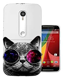 c0074 - Cool Cat Sunglasses Fashion Trend Design Moto G3 Fashion Trend CASE Gel Rubber Silicone All Edges Protection Case Cover