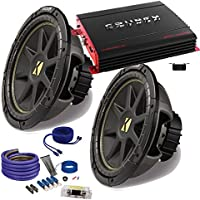 Kicker 2 12 Comp Subwoofers and a Crunch PX2000.1D 2000 Watt Max Amp + Amp wire kit Package