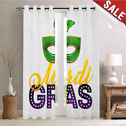 - Mardi Gras, Customized Curtains, Stylized Calligraphy and Typography Carnival Mask with Feathers Print, Blackout Window Curtain, W72 x L96 Inch Green Marigold Purple