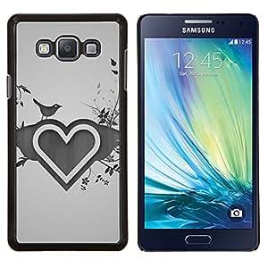 KLONGSHOP // Cubierta de piel con cierre a presión Shell trasero duro de goma Protección Caso - Minimalista Corazón y Pájaros - Samsung Galaxy A7 A7000 //