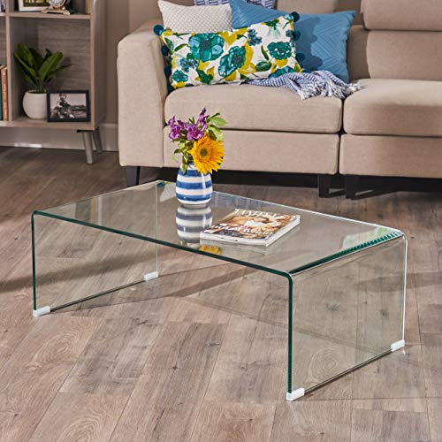 Bent Glass Coffee Table - Great Deal Furniture 296697 Classon Glass Rectangle Coffee Table, Transparent