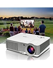 Video Projector HD 1080P Support Indoor Outdoor Movie Projectors for Home Theater Party Gaming Multimedia Proyector with 2 HDMI 2 USB VGA AV RCA Audio for iOS/Android Phone Tablet Laptop DVD TV PS4 PC