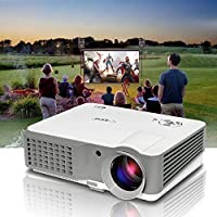 Portable LCD LED Video Projector, HDMI 1080p HD Support, 2500 Lumen Outdoor Indoor Movie Projector with Speaker for Home Cinema Theatre,Entertainemt, Karaoke, Art Work Projection- 50,000hrs Lamp-life