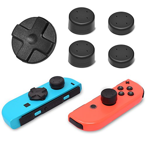 Alternative Dpad Button for Nintendo Switch Joy-Con,Adhesive Dpad Button for Left Nintendo Switch Joy-Con with 4 Nintendo Switch Joycon Thumb Grip Caps (Black)