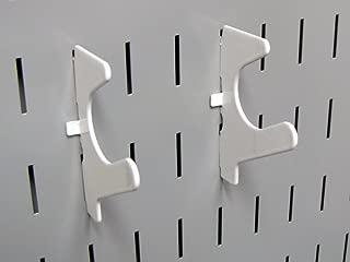 "product image for Wall Control Pegboard Slanted U-Hook Pegboard Accessory ""U"" Shaped Slotted Metal Pegboard Hook for Wall Control Pegboard and Slotted Tool Board – White"