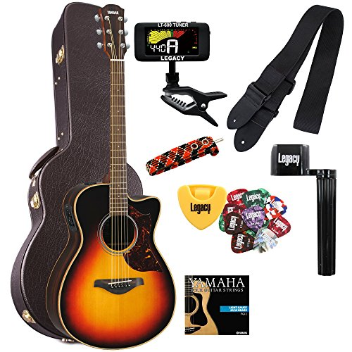 Yamaha AC1RVS Acoustic-Electric Guitar in Vintage Sunburst with Case and Legacy Steel String Kit (Guitar Acoustic Concert)