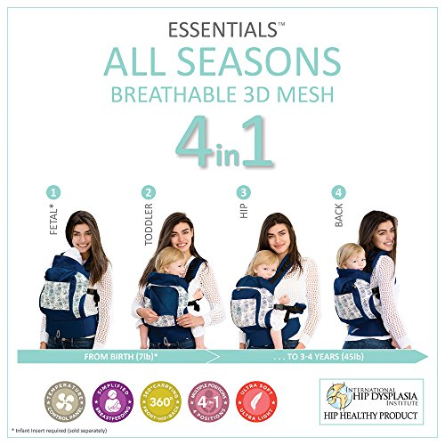 L LL baby 4 in 1 Essentials All Seasons Baby Carrier, Seven Seas