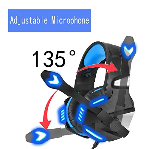 KJ-KayJI Gaming Headset for PS4 Xbox One Over Ear Gaming Headphones with Mic Stereo Bass Surround Noise Reduction,LED Lights and Volume Control for Laptop PC Mac IPad Computer Smartphones Xbox (Blue) by KJ-KayJI (Image #1)