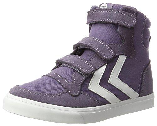 Hummel Kinder Sneaker Hoch Unisex - Stadil Canvas Jr High �?Turnschuh Leinen/Wildleder - Freizeitschuh DIV. Farben - Schuh mit Klettverschluss Violett (Cadet)