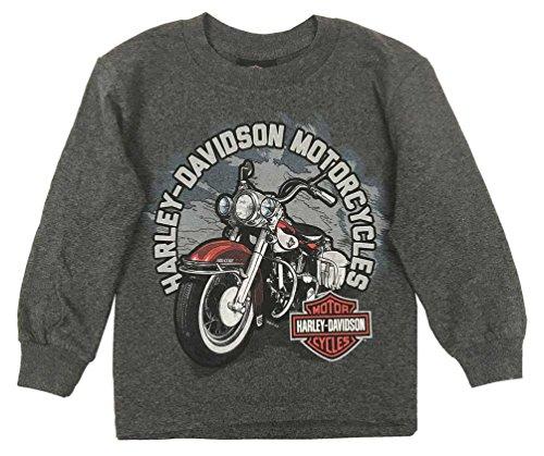 Harley-Davidson Little Boy's Biker Sidekick Long Sleeve Shirt, Charcoal (5)