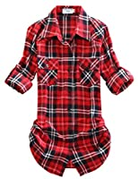 Match Women's Long Sleeve Flannel Plaid Shirt